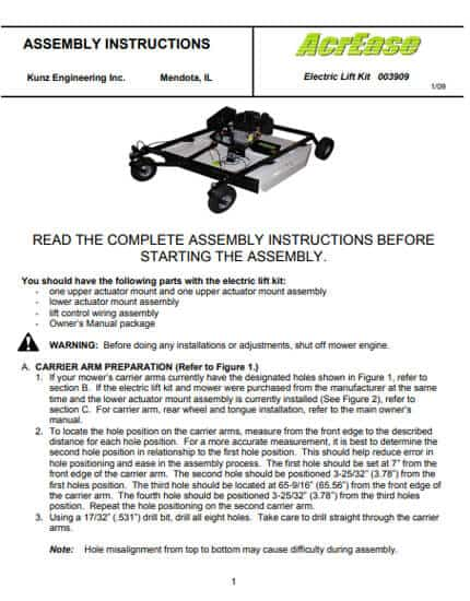 57 inch electric lift manual