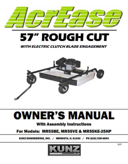 MR5BBE MR55VE MR55KE25 57 Rough Cut with Electric Clutch Blade Engagement manual 2017