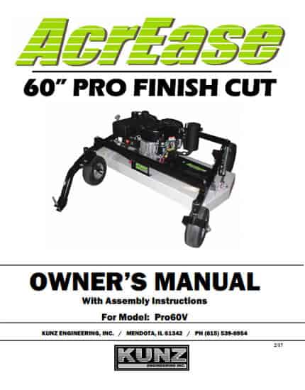 AcrEase 60'' Pro Finish Cut Owner's Manual